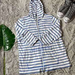 Nike men's blue and white striped zip up hoodie xl